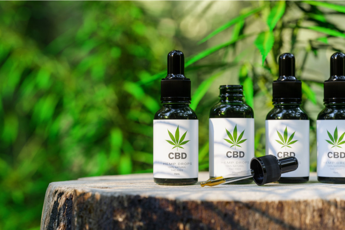 CBD vials with droppers.